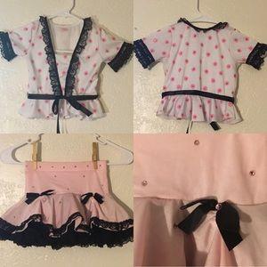 Sz M Girls Dance Dress-up Costume Pink Polka Dots